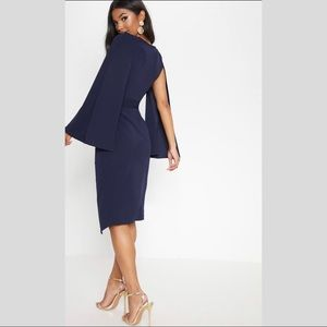 Cape style wrap midi dress